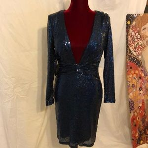 Blue sequence night dress